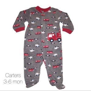 Carters Hero Gray Fleece Pjs 3-6 mons